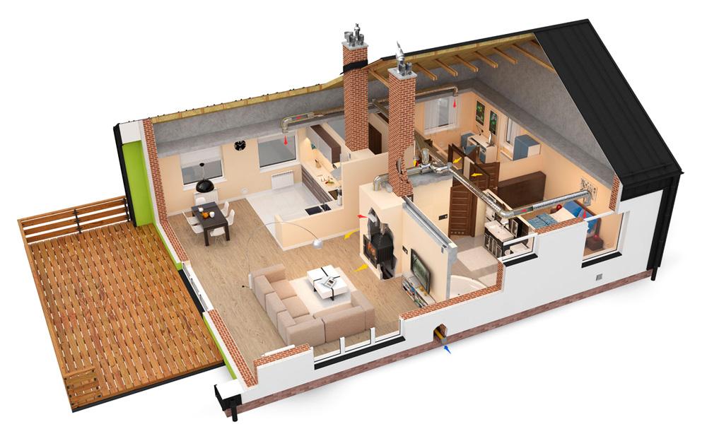 Patalpų šildymas židiniu su ortakiais – pigiausia šildymo sistema